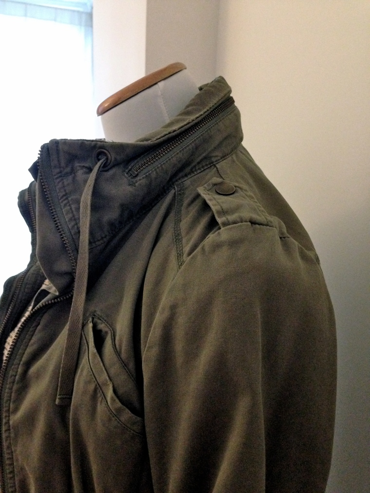 Parka close up on epaulets and hidden hood